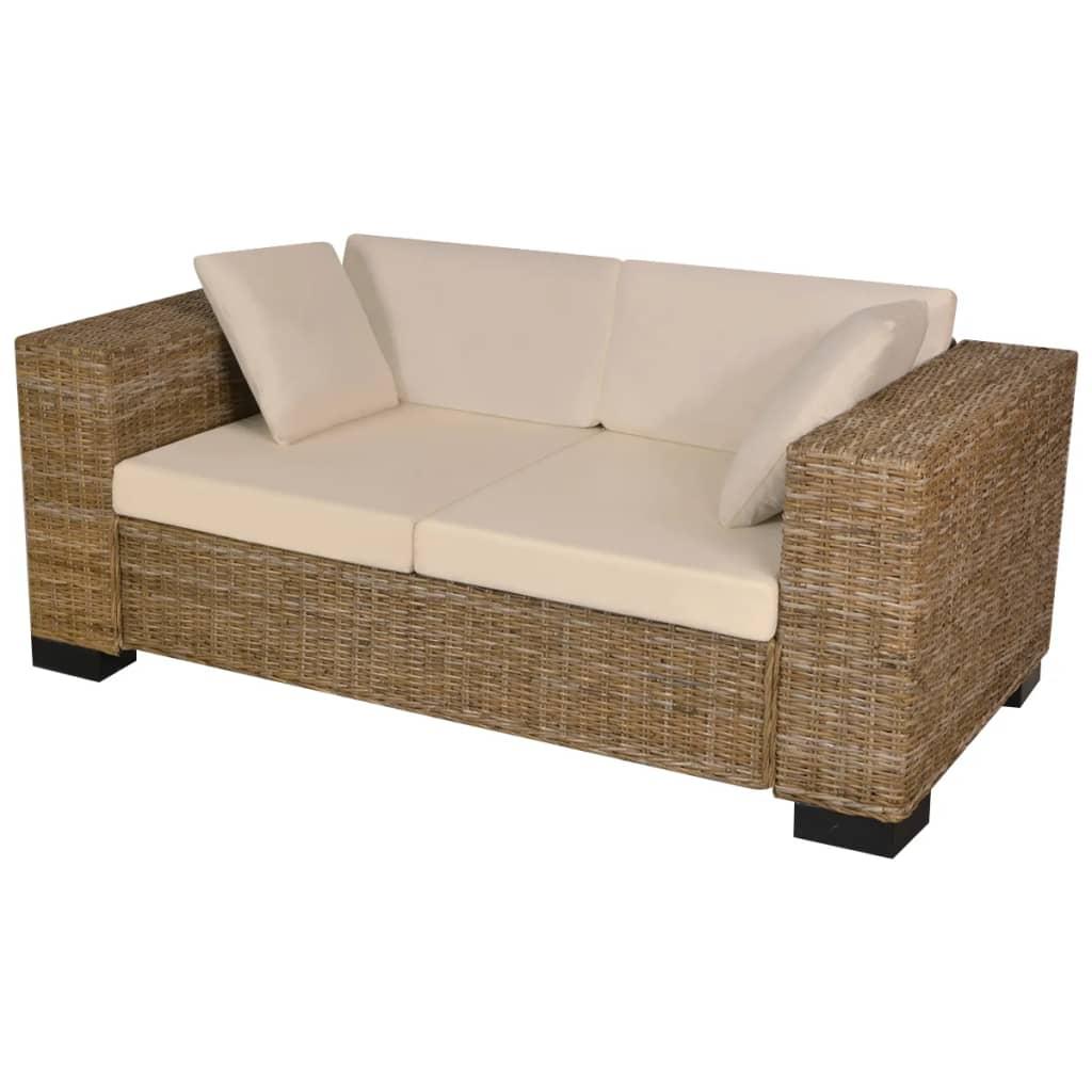 vidaXL hét darabos kétszemélyes kanapé szett valódi rattan