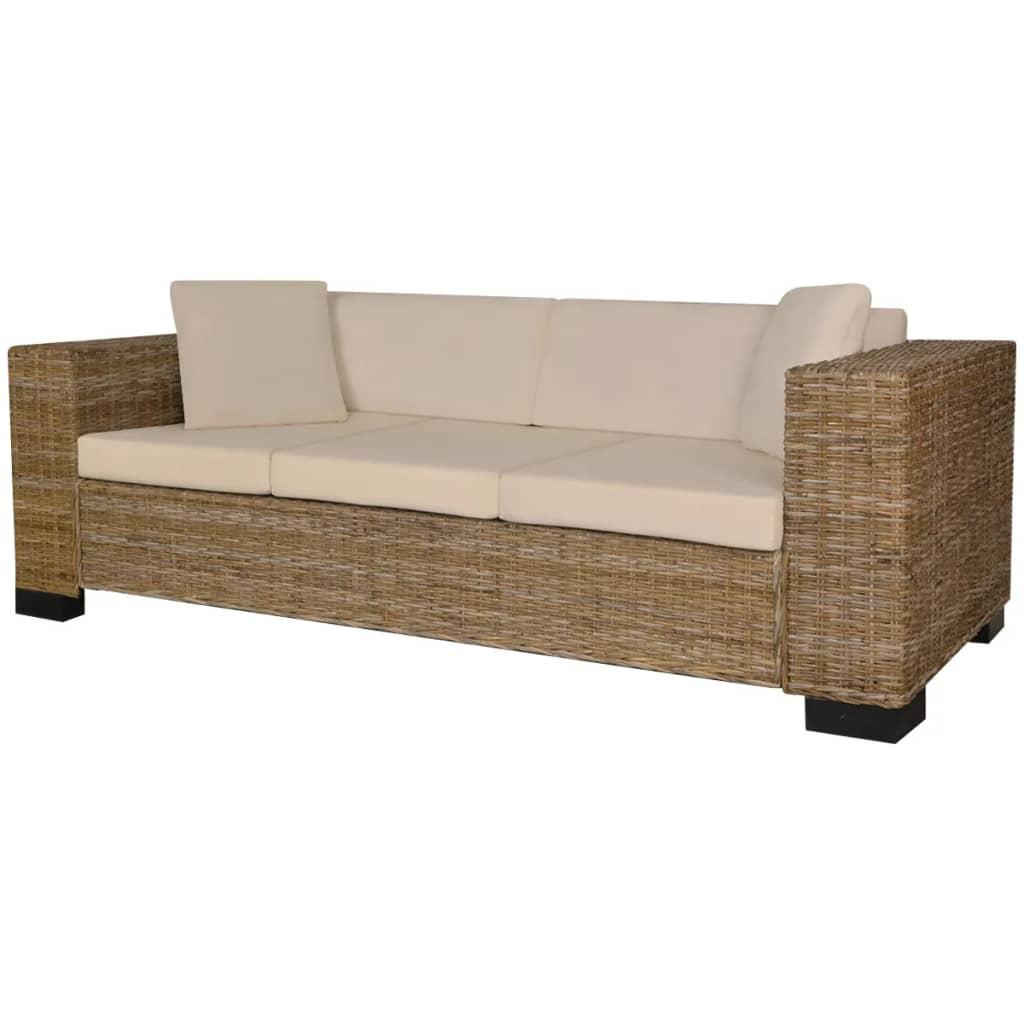 vidaXL nyolc darabos háromszemélyes kanapé szett valódi rattan