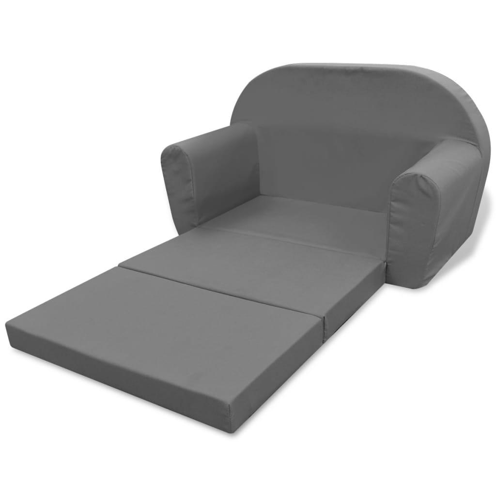 acheter vidaxl chaise longue pliable pour enfants gris pas cher. Black Bedroom Furniture Sets. Home Design Ideas