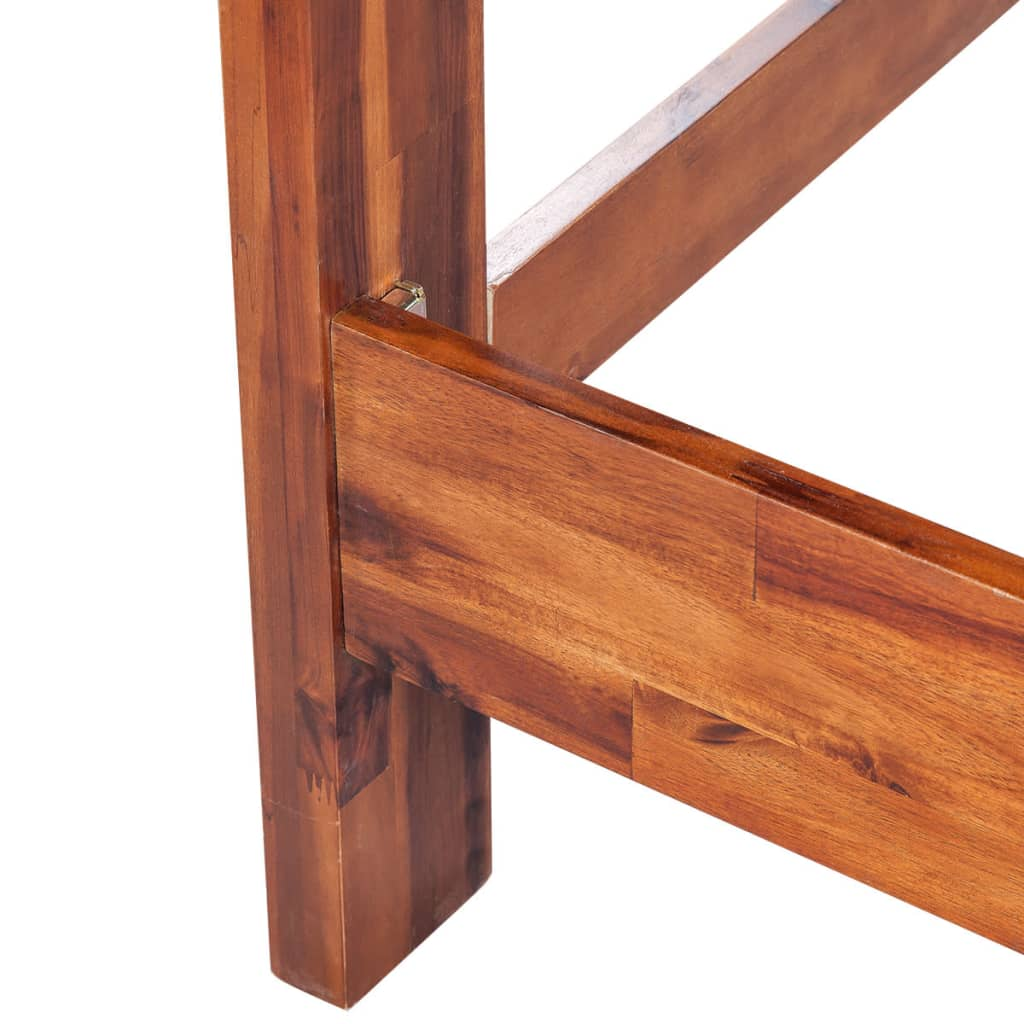 vidaXL Wooden Bed Frame Solid Acacia Wood Brown 140x200 cm ... Plain Wooden Frame