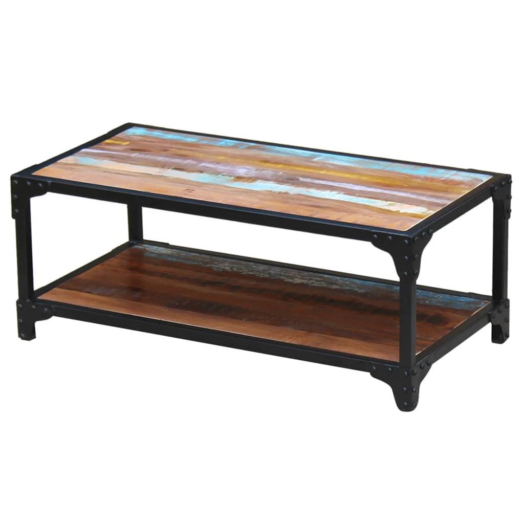 Acheter vidaxl table basse bois de r cup ration massif pas - Table basse ouvrable ...
