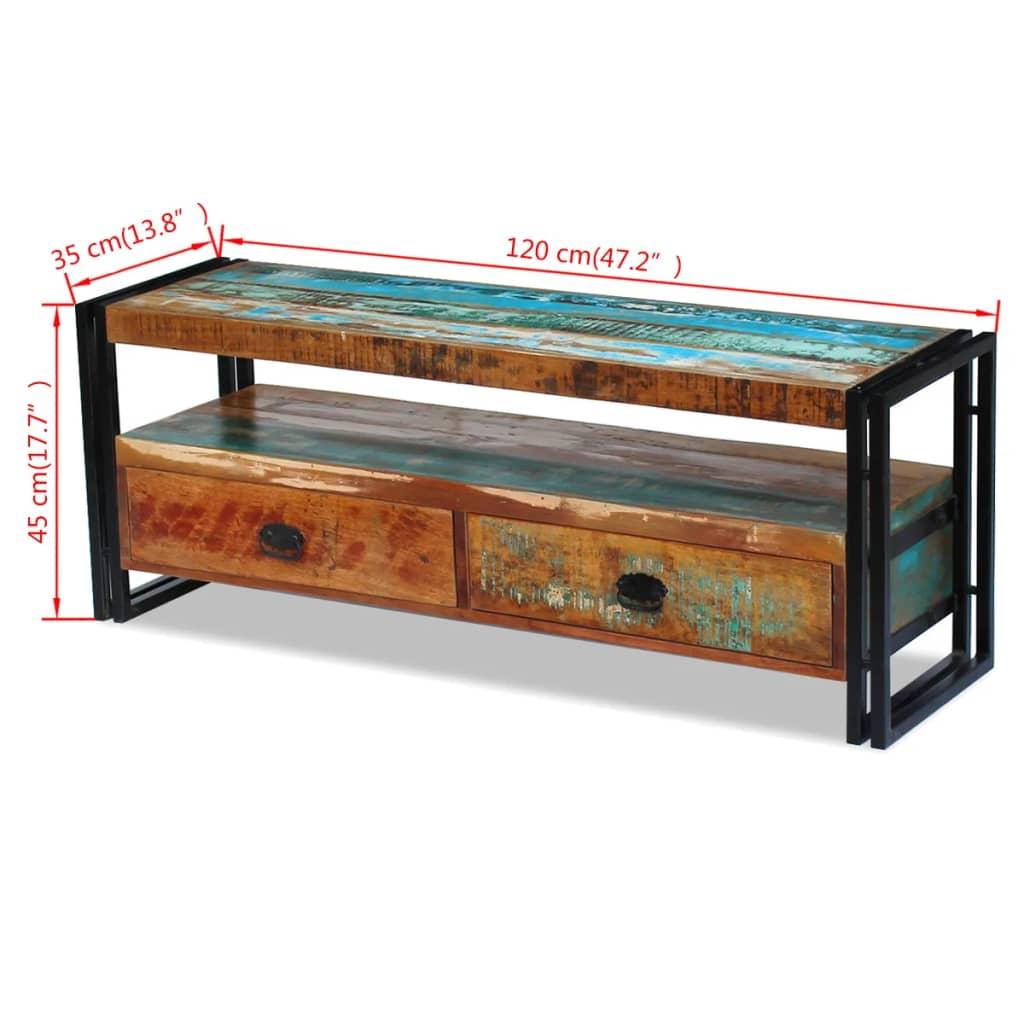 Vidaxl mobile porta tv in legno massello anticato - Porta tv in legno ...