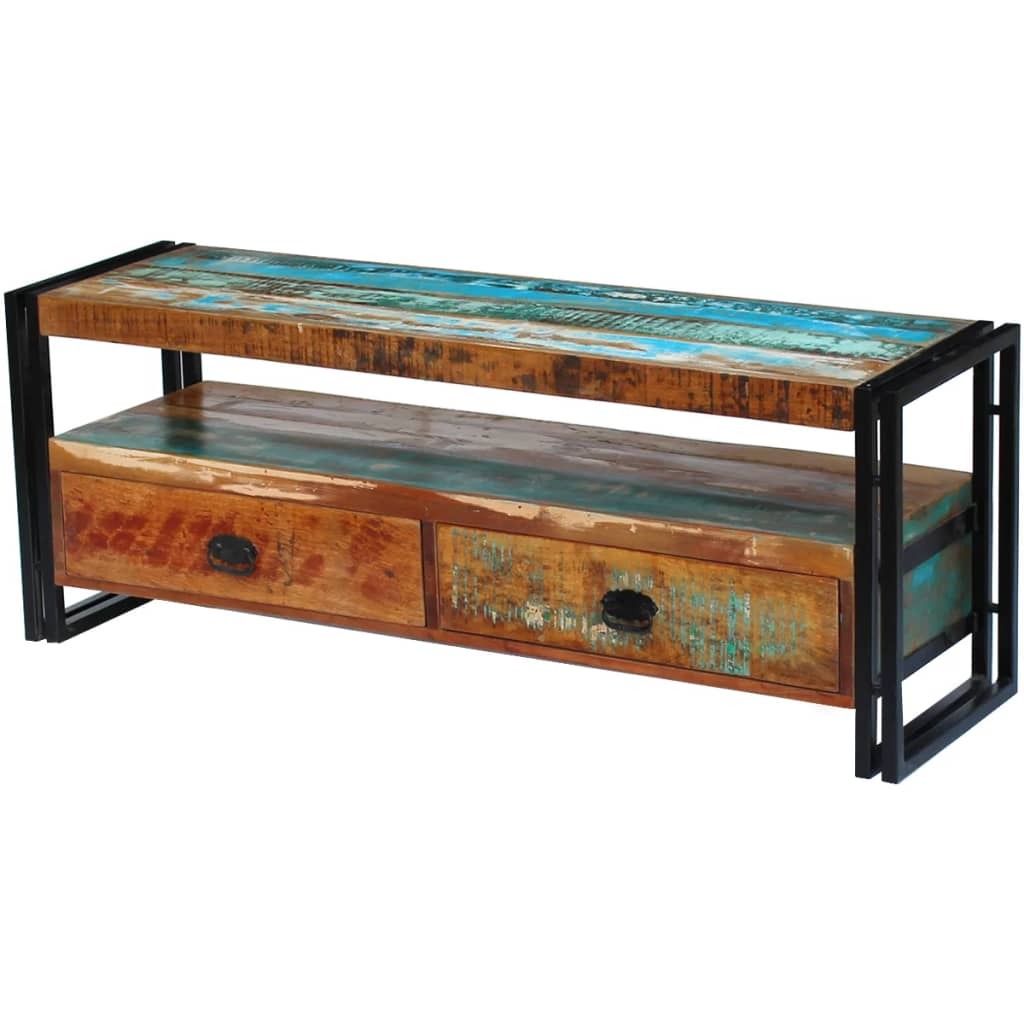 Vidaxl mueble para la tv de madera maciza reciclada for Muebles de madera maciza