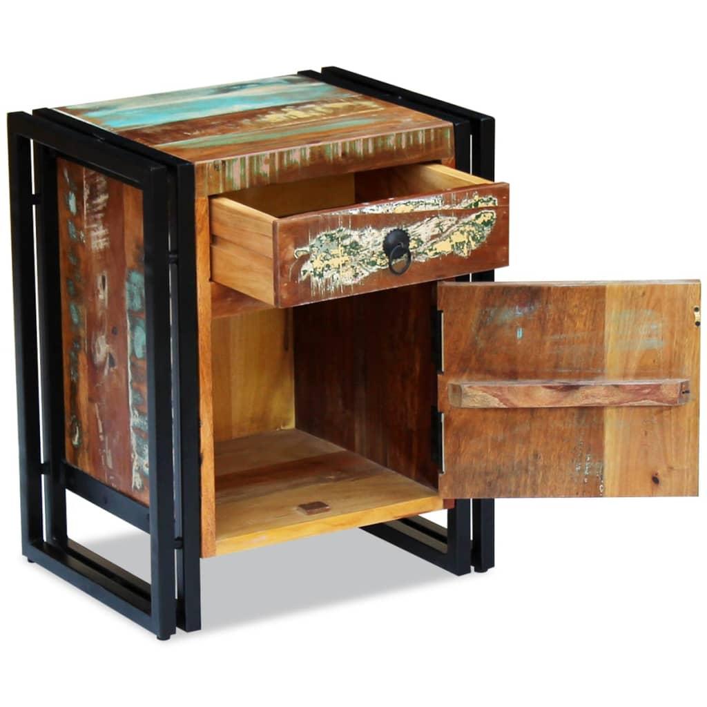 acheter vidaxl table de chevet bois de r cup ration massif pas cher. Black Bedroom Furniture Sets. Home Design Ideas