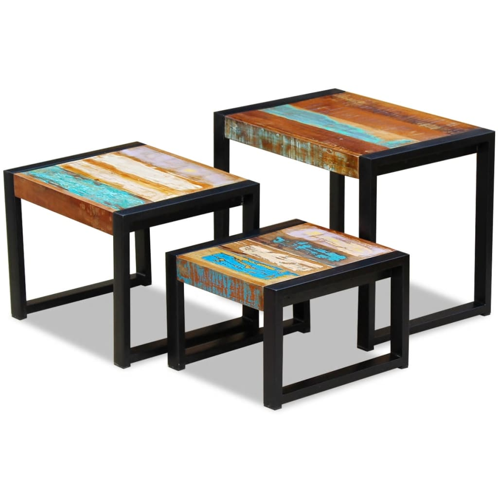 vidaxl set de 3 mesas auxiliares madera maciza reciclada tienda online. Black Bedroom Furniture Sets. Home Design Ideas