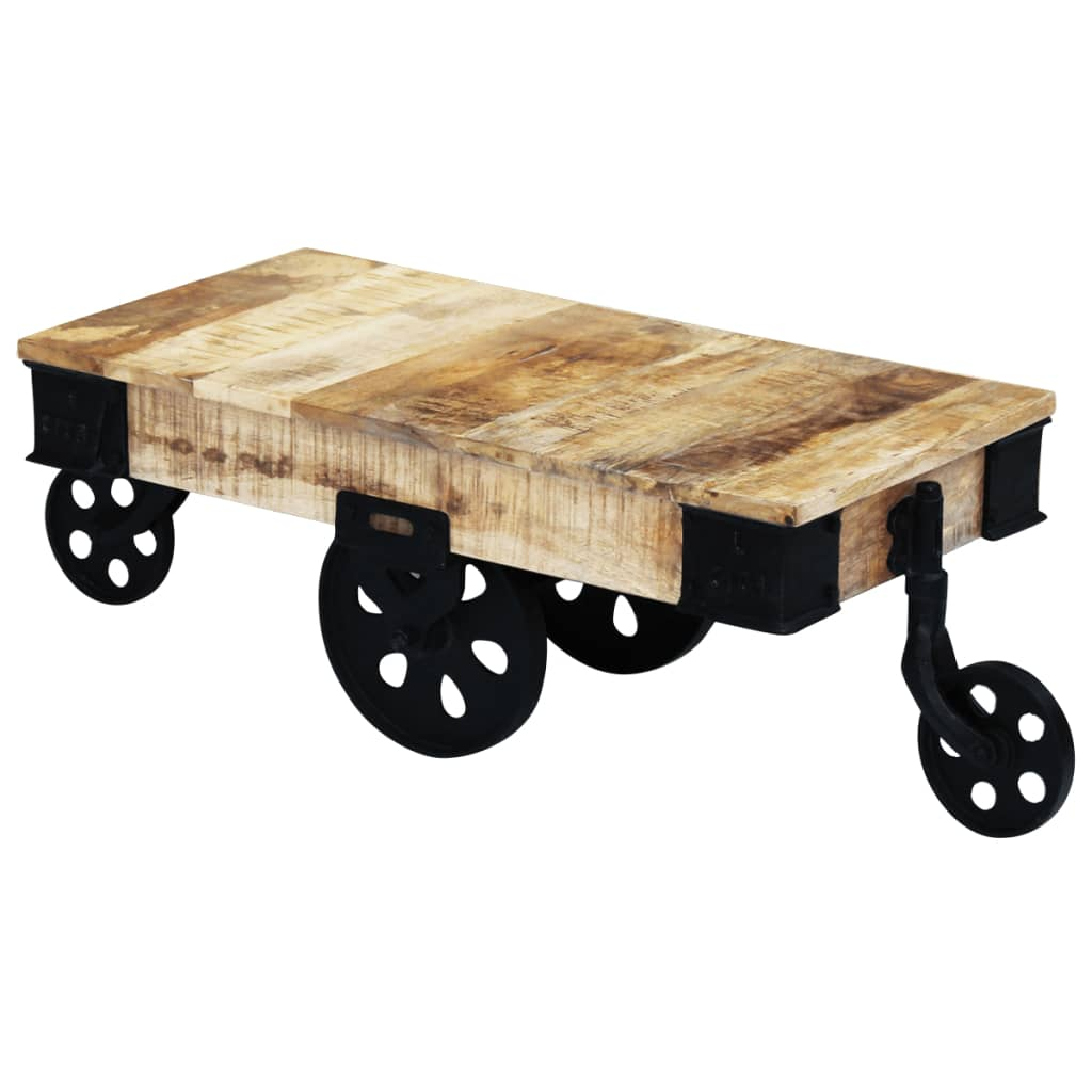 Vidaxl coffee table with wheels rough mango wood vidaxl for Coffee tables on wheels