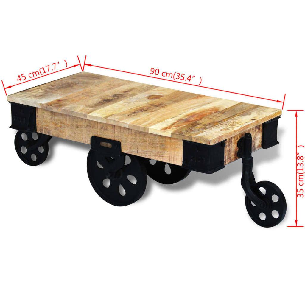 Vidaxl mesa de centro con ruedas de madera spera de mango - Mesa centro ruedas ...