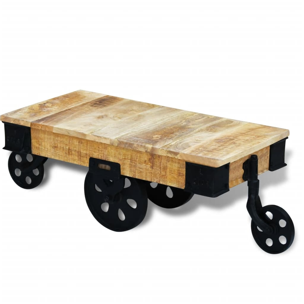acheter vidal xl table basse avec roues bois de manguier brut pas cher. Black Bedroom Furniture Sets. Home Design Ideas