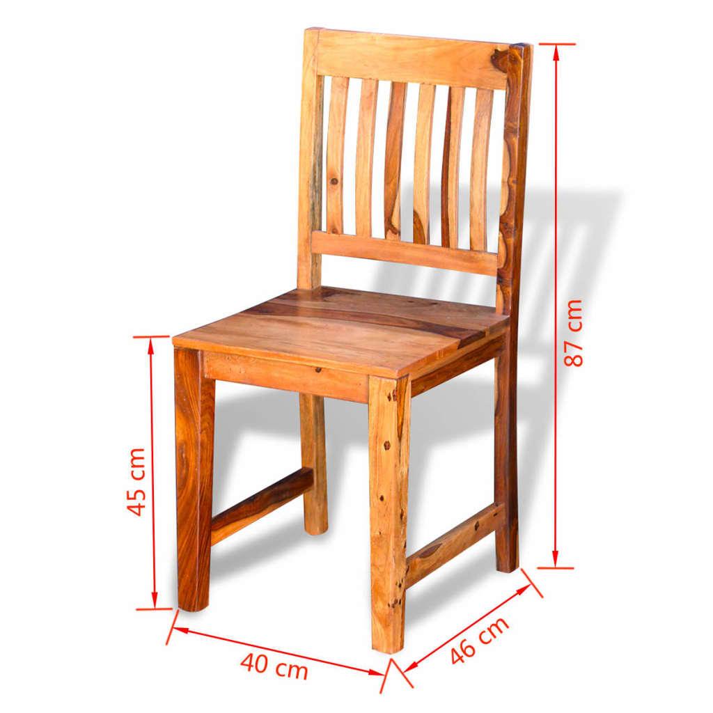 Acheter vidaxl chaises de salle manger en bois de for Salle a manger en bois massif
