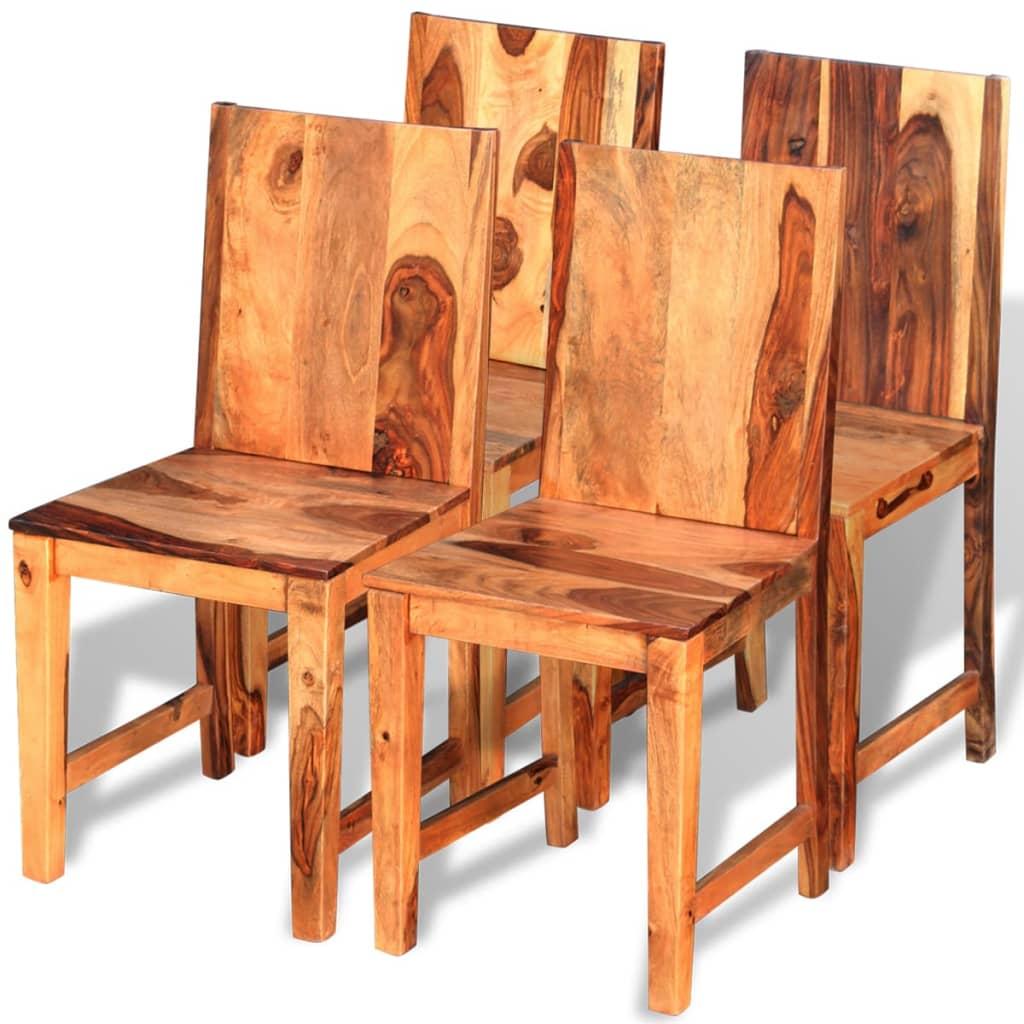Vidaxl sillas de comedor de madera sheesham 4 unidades for Comedor 4 sillas madera