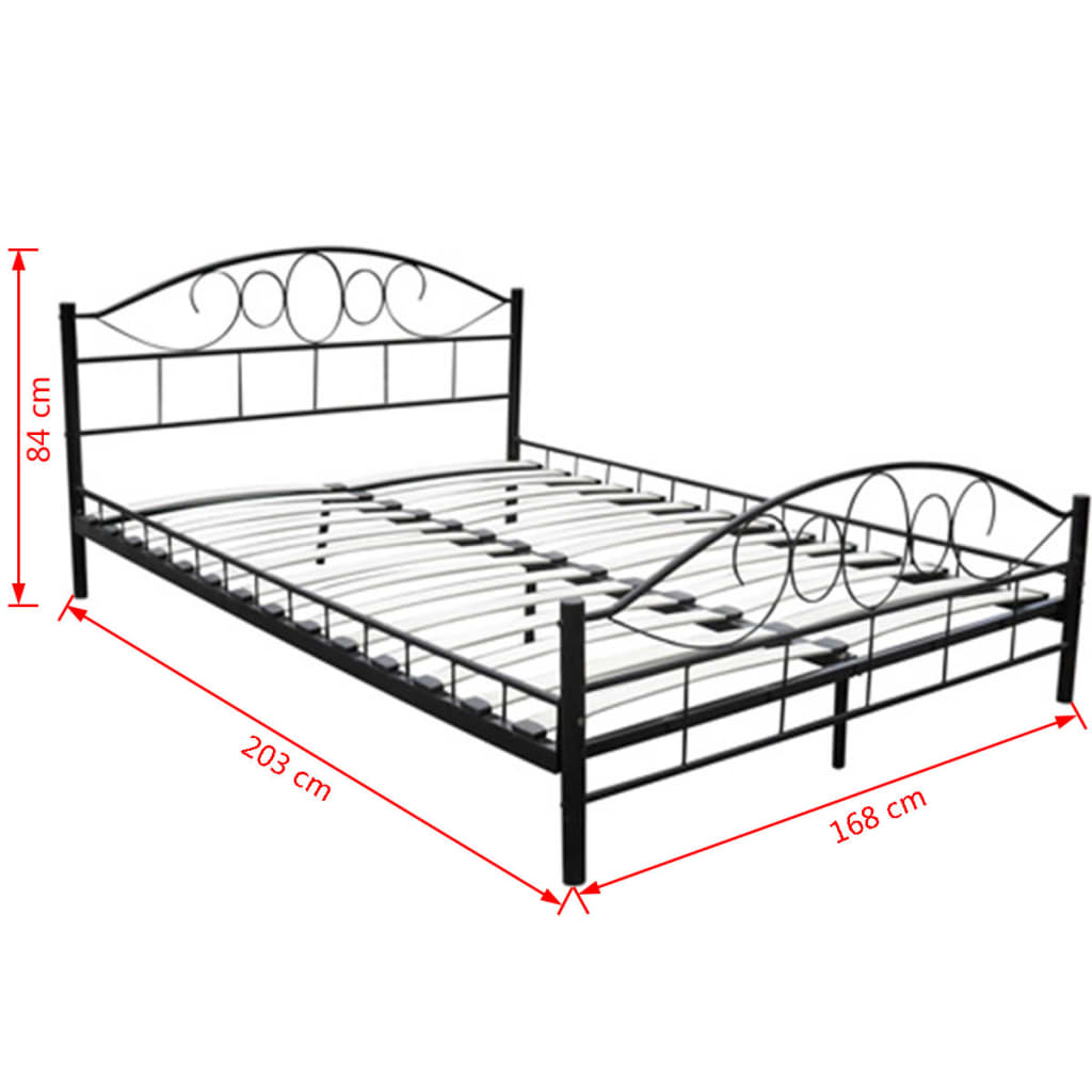 Vidaxl double bed frame 160x200 cm black metal for Double twin bed frame