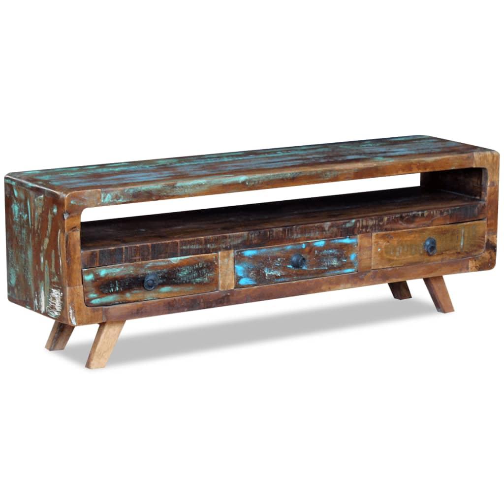 acheter vidaxl meuble tv avec 3 tiroirs bois de r cup ration massif pas cher. Black Bedroom Furniture Sets. Home Design Ideas