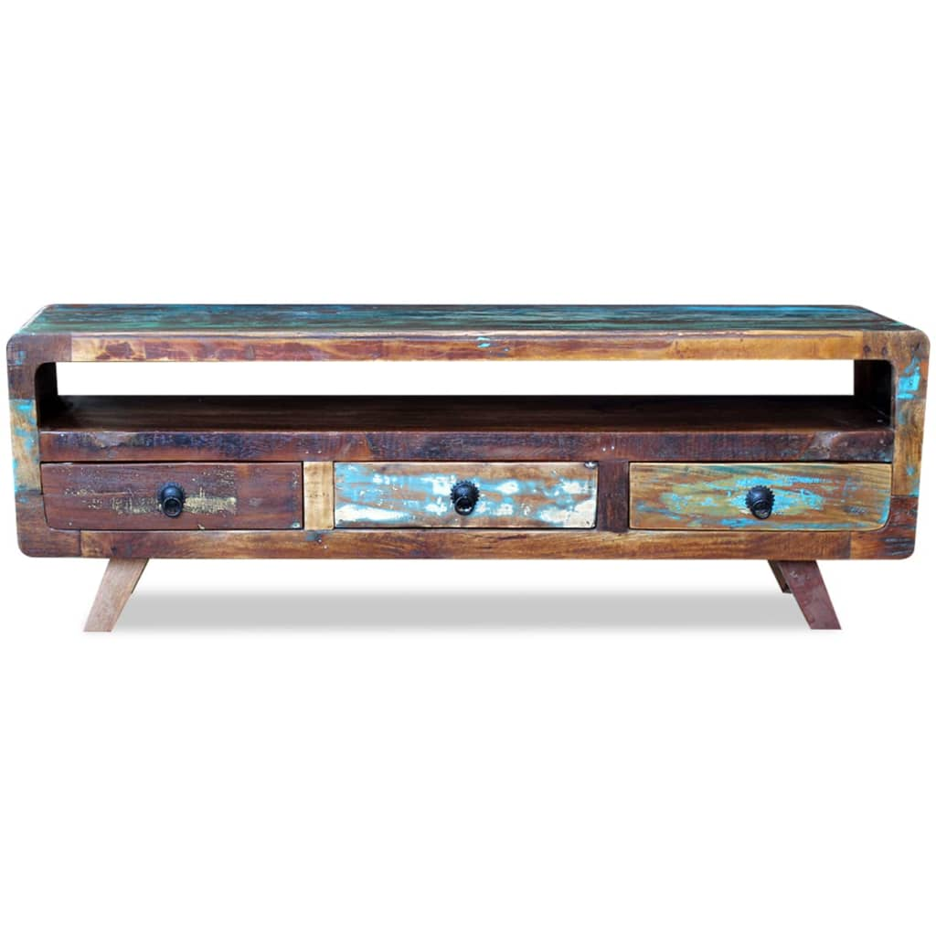 vidaxl tv schrank mit 3 schubladen recyceltes massivholz g nstig kaufen. Black Bedroom Furniture Sets. Home Design Ideas