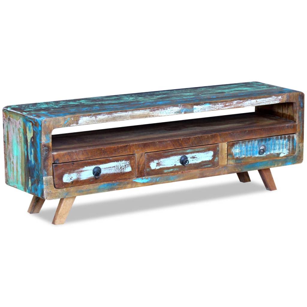 Acheter vidaxl meuble tv avec 3 tiroirs bois de for Meuble tv solde