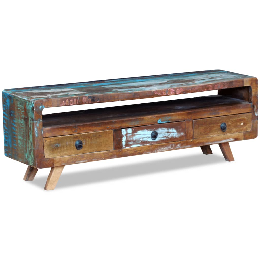 Vidaxl tv cabinet with 3 drawers solid reclaimed wood for Mini meuble tv