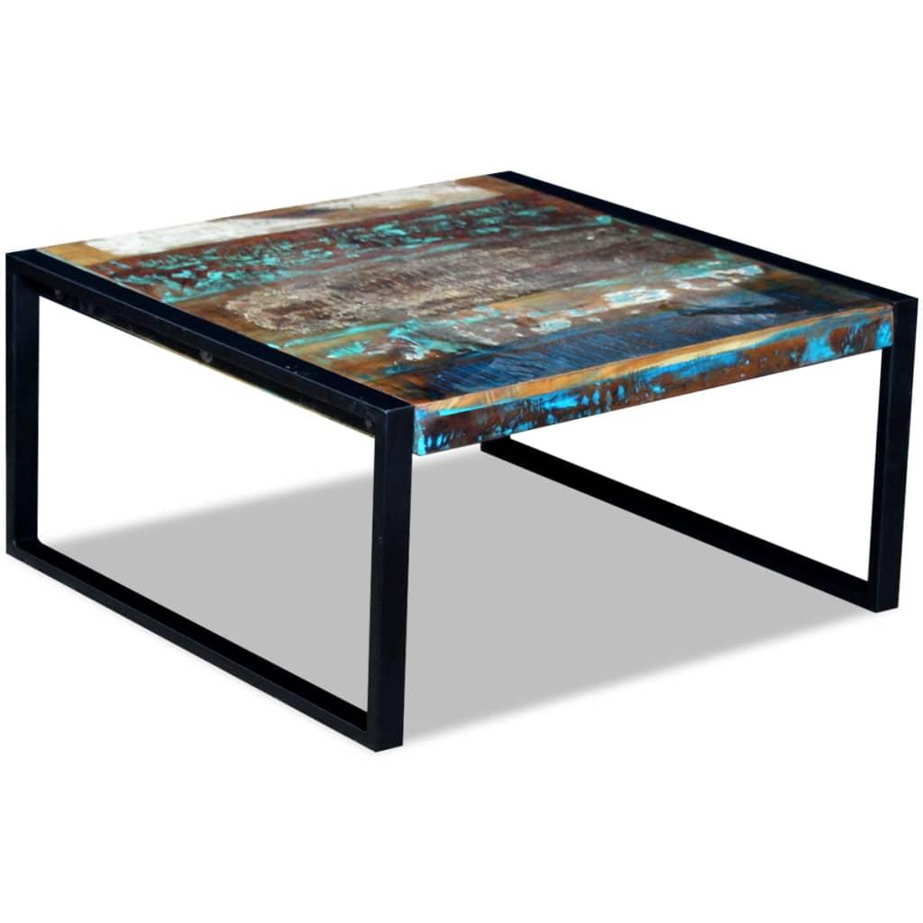 vidaXL 80x80x40 cm újrahasznosított tömör dohányzóasztal