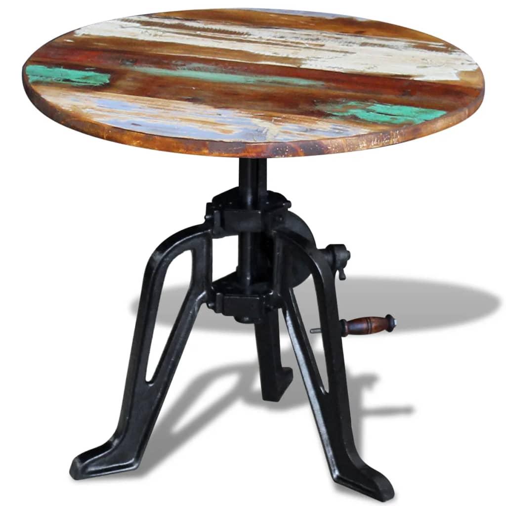 vidaXL 60x(42-63) cm újrahasznosított fa és öntöttvas kisasztal