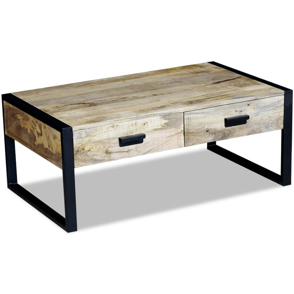 Vidaxl Coffee Table Teak Resin: VidaXL Coffee Table With 2 Drawers Solid Mango Wood