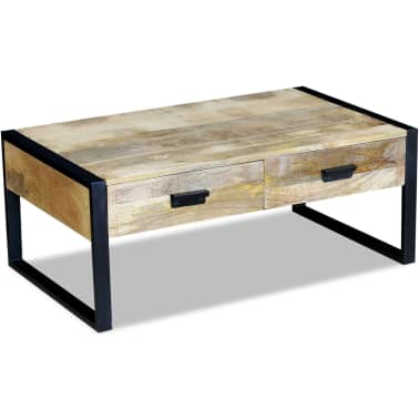 Vidaxl coffee table with 2 drawers solid for Coffee table 60 x 40