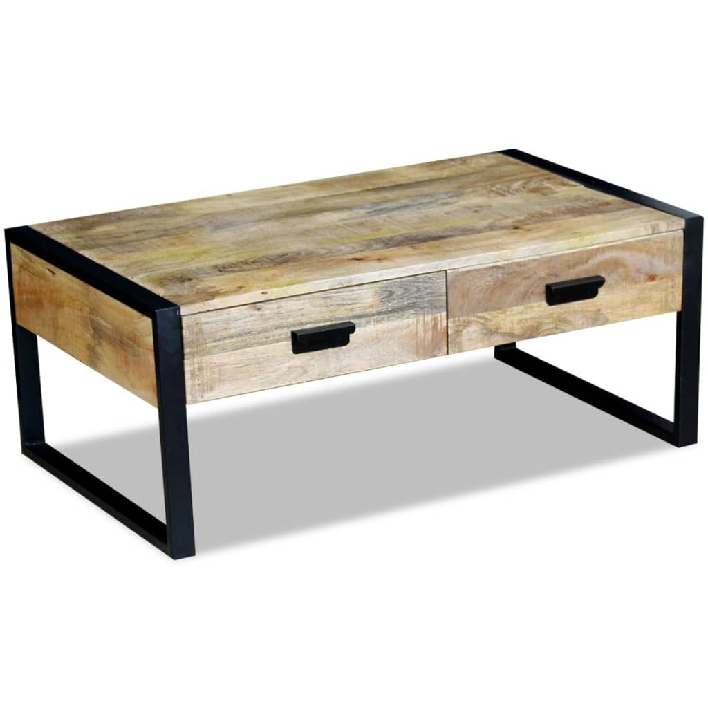 acheter vidaxl table basse avec 2 tiroirs bois de manguier massif 100 x 60 x 40 cm pas cher. Black Bedroom Furniture Sets. Home Design Ideas