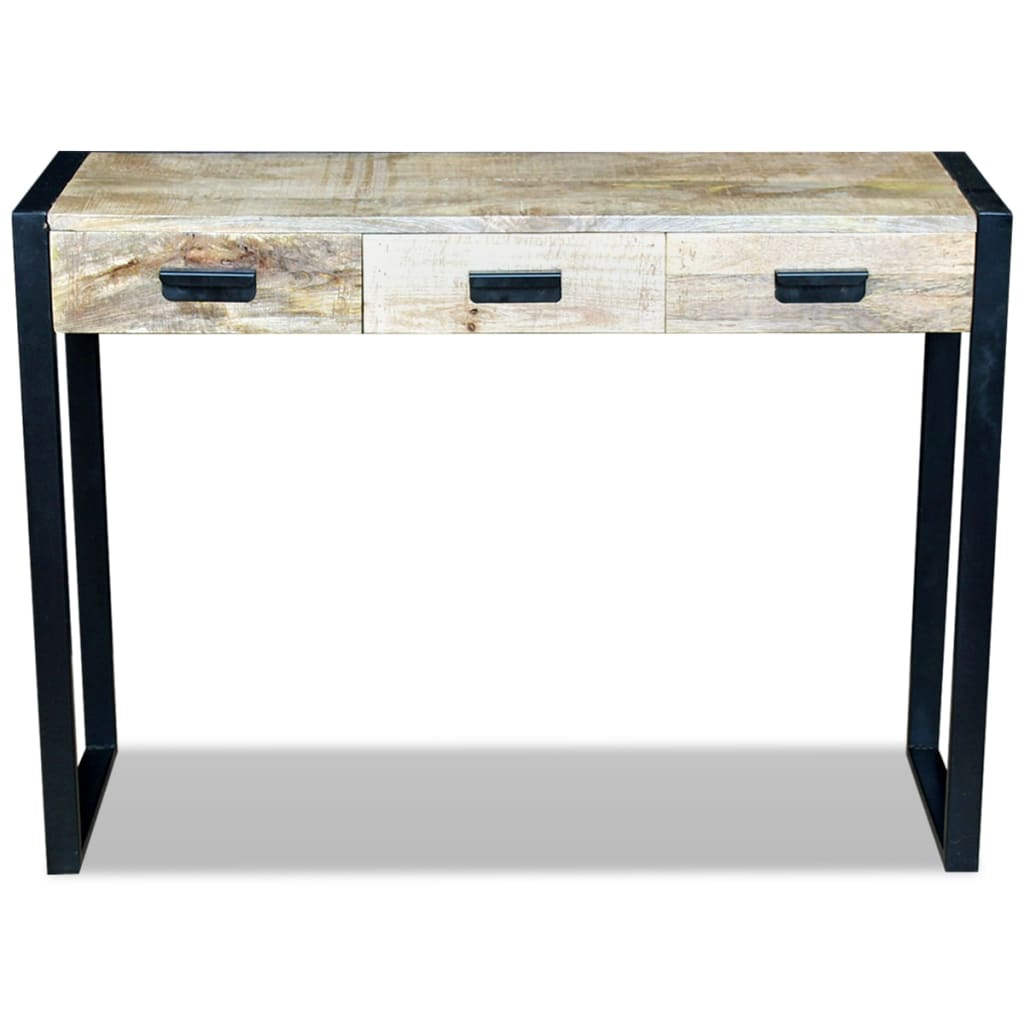 acheter vidaxl table console avec 3 tiroirs bois de manguier massif 110 x 35 78 cm pas cher. Black Bedroom Furniture Sets. Home Design Ideas