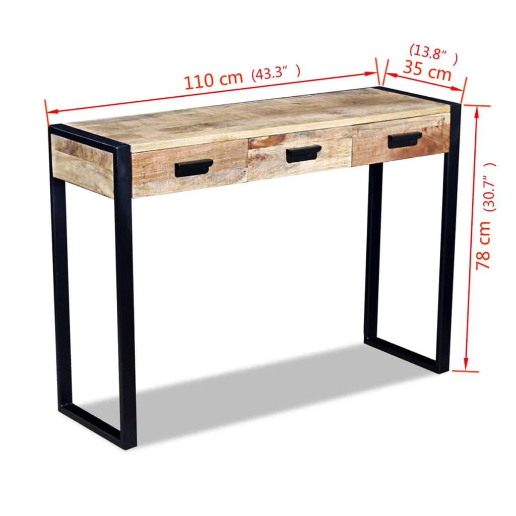 la boutique en ligne vidaxl table console avec 3 tiroirs bois de manguier massif 110 x 35 78 cm. Black Bedroom Furniture Sets. Home Design Ideas