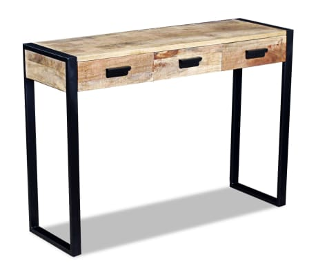 vidaxl table console avec 3 tiroirs bois de manguier massif 110 x 35 78 cm. Black Bedroom Furniture Sets. Home Design Ideas