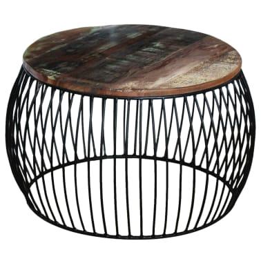 vidaxl couchtisch rund recyceltes massivholz 68 43 cm g nstig kaufen. Black Bedroom Furniture Sets. Home Design Ideas