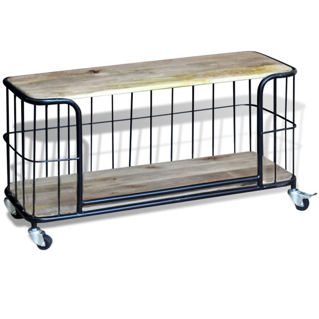 Acheter vidaxl meuble tv 100 x 40 x 45 cm bois de manguier for Meuble tv 40 cm