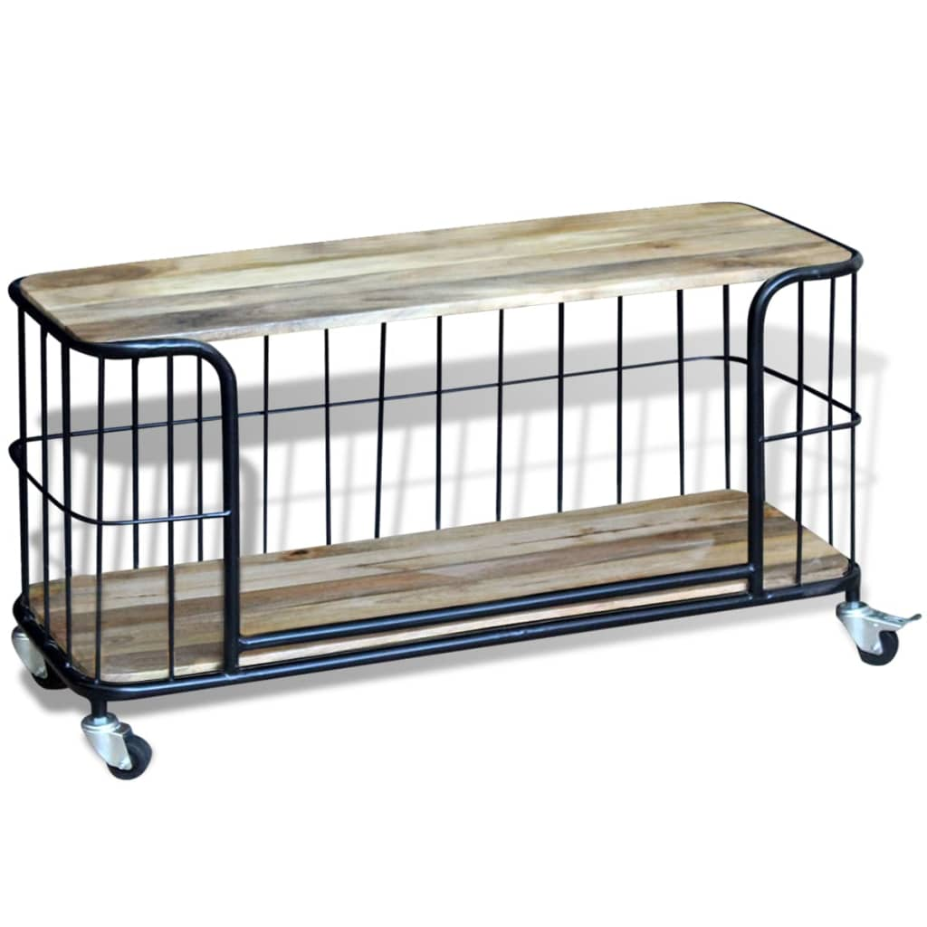 Acheter vidaxl meuble tv 100 x 40 x 45 cm bois de manguier for Meuble tv bois 100 cm