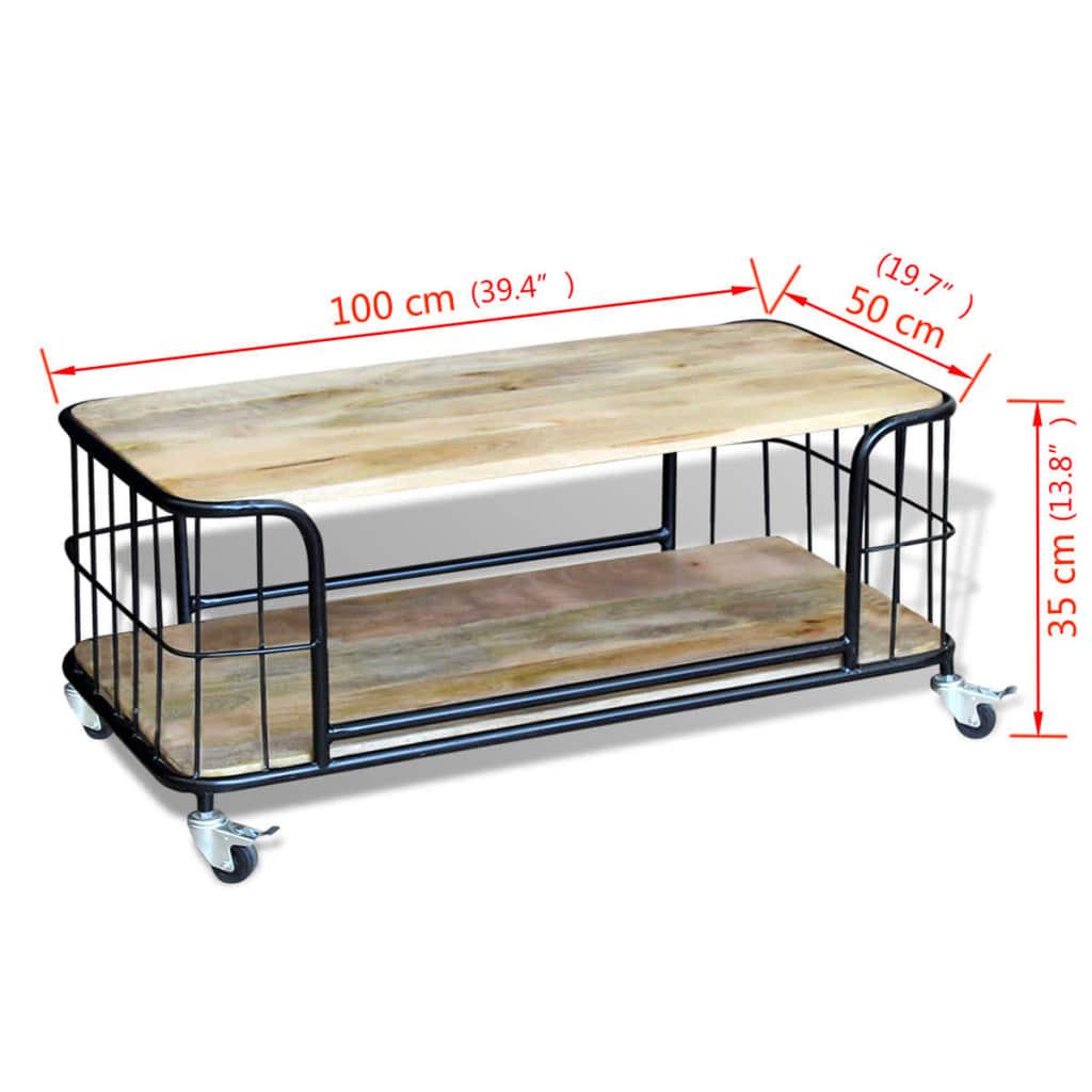 La boutique en ligne vidaxl table basse bois de manguier for Couchtisch 100 x 50