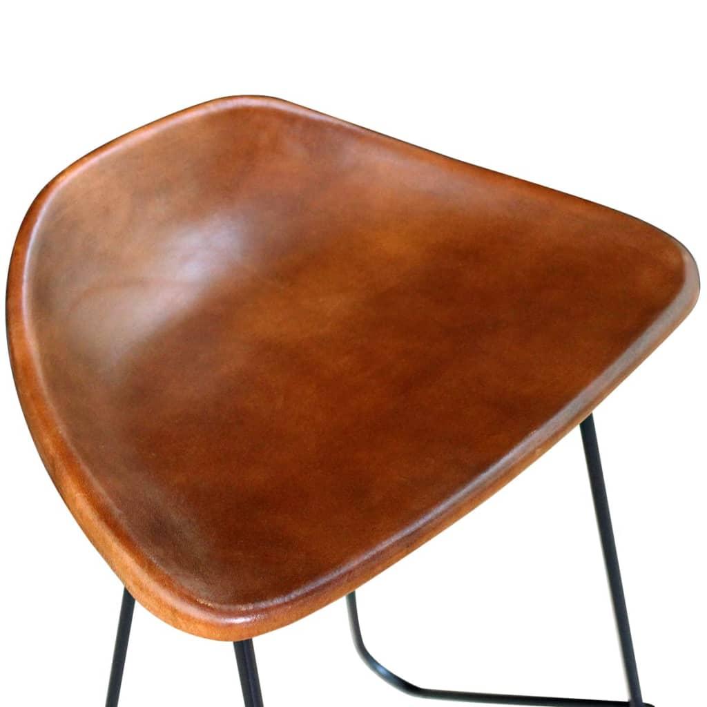Acheter vidaxl tabouret de bar 2 pcs en cuir v ritable marron pas cher - Tabouret de bar cuir marron ...