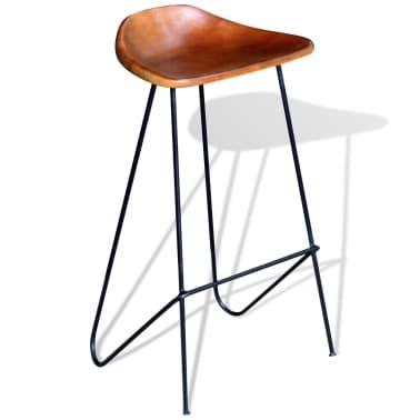vidaxl barkruk echt leer bruin 2 st online. Black Bedroom Furniture Sets. Home Design Ideas