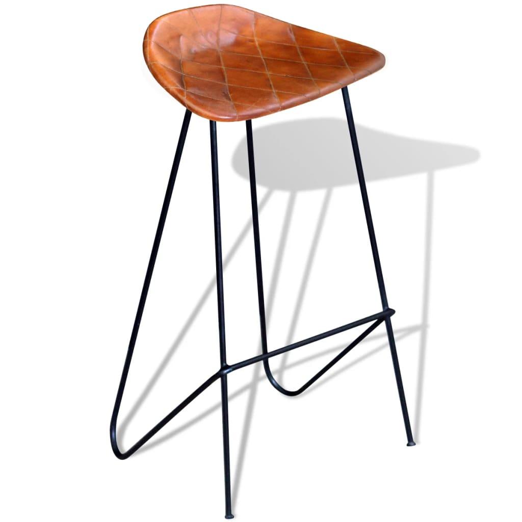 acheter vidaxl tabouret de bar 2 pcs en cuir v ritable. Black Bedroom Furniture Sets. Home Design Ideas