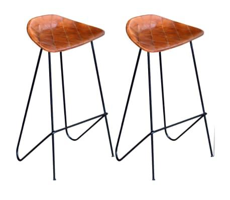 vidaXL Barske Stolice od Prave Kože 2 kom Smeđe