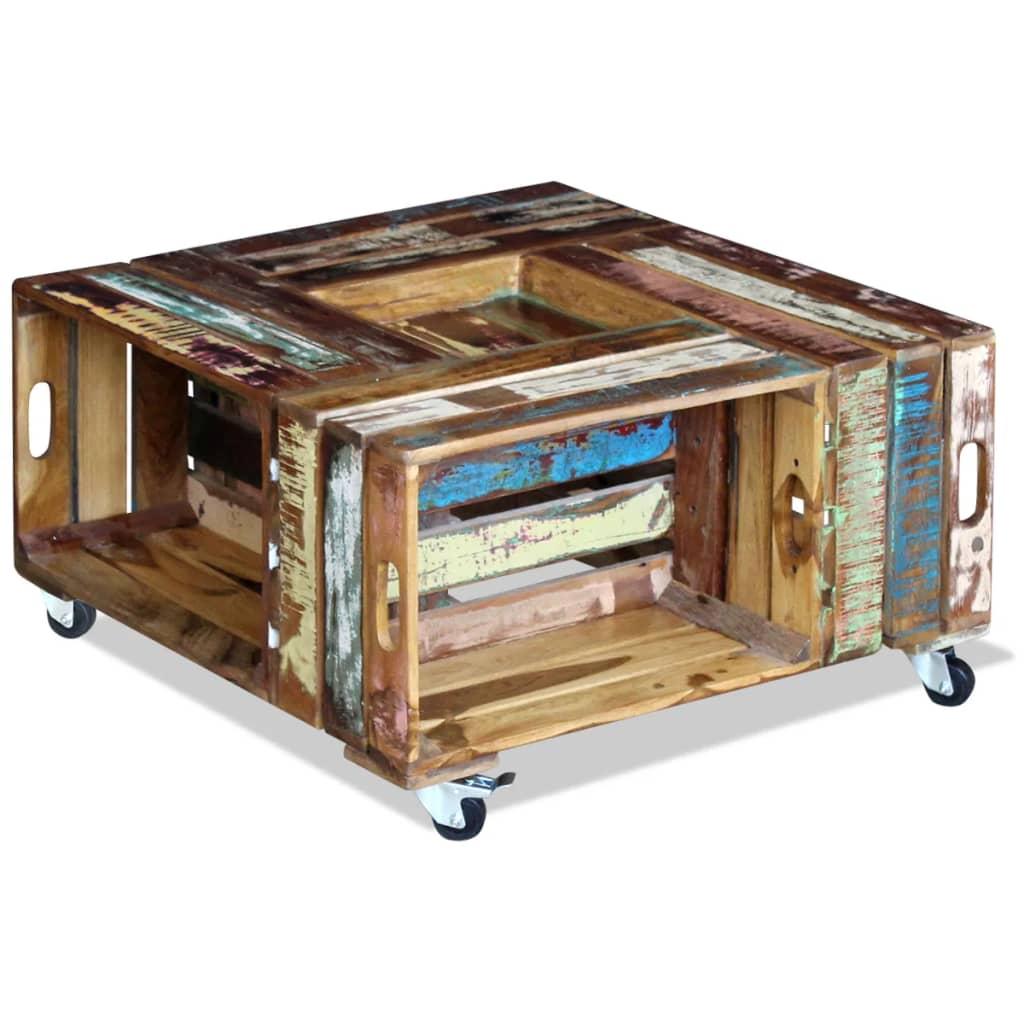 Vidaxl coffee table solid reclaimed wood 70x70x35 cm for Coffee table 70 x 70