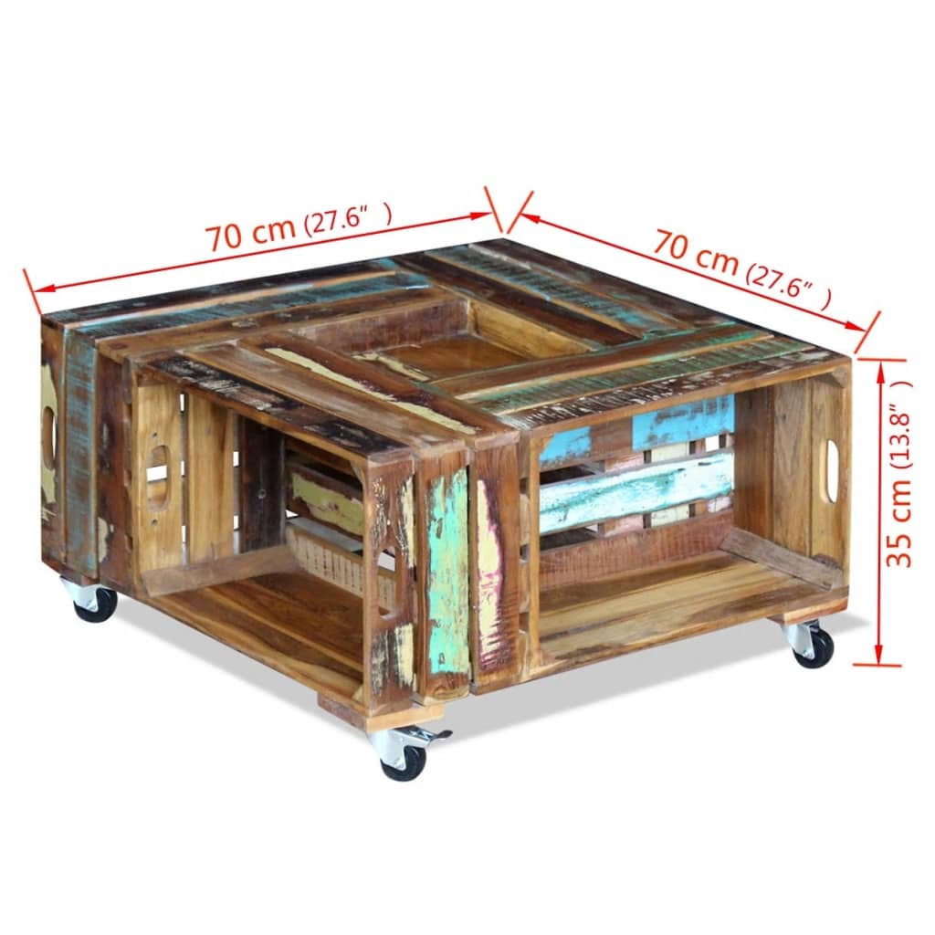 Vidaxl mesa de centro madera maciza reciclada 70x70x35 cm for Mesa de centro madera maciza
