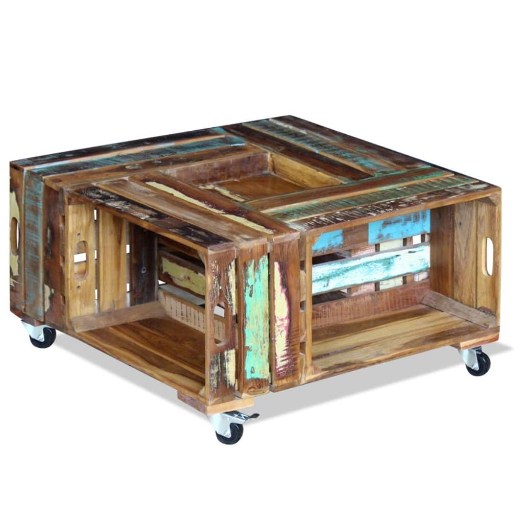 vidaXL 70x70x35 cm Tömör újrahasznosított fa dohányzóasztal