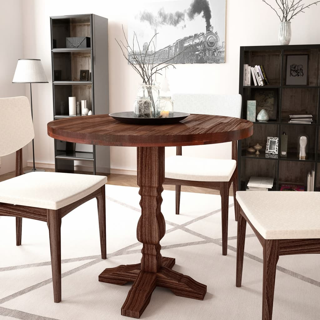 Solid Wood Kitchen Tables: VidaXL Pedestal Dining Room Kitchen Dinner Breakfast Table