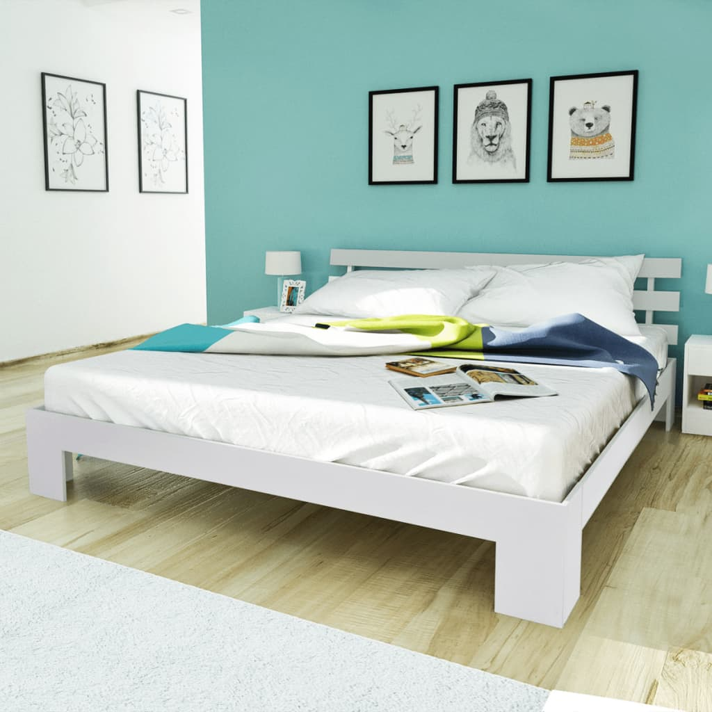 Vidaxl double bed 200x150cm pinewood white 5ft king size - White king size bedroom furniture ...