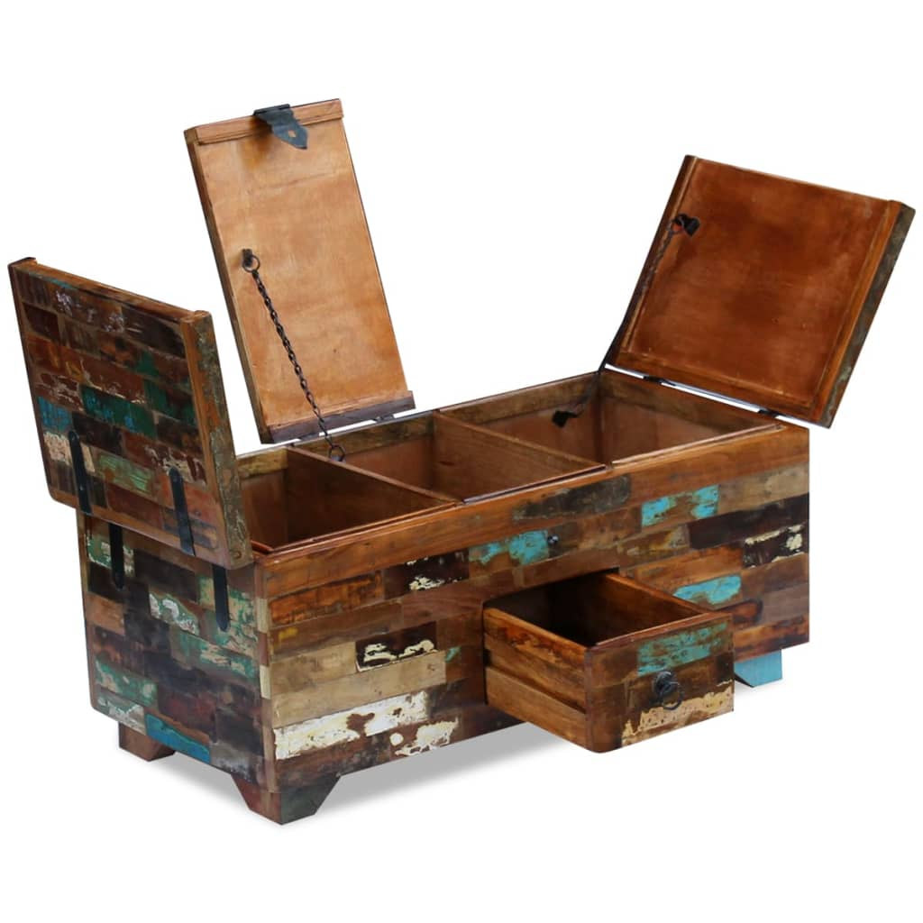 Solid Wood Chest Coffee Table: VidaXL Coffee Table Box Chest Solid Reclaimed Wood