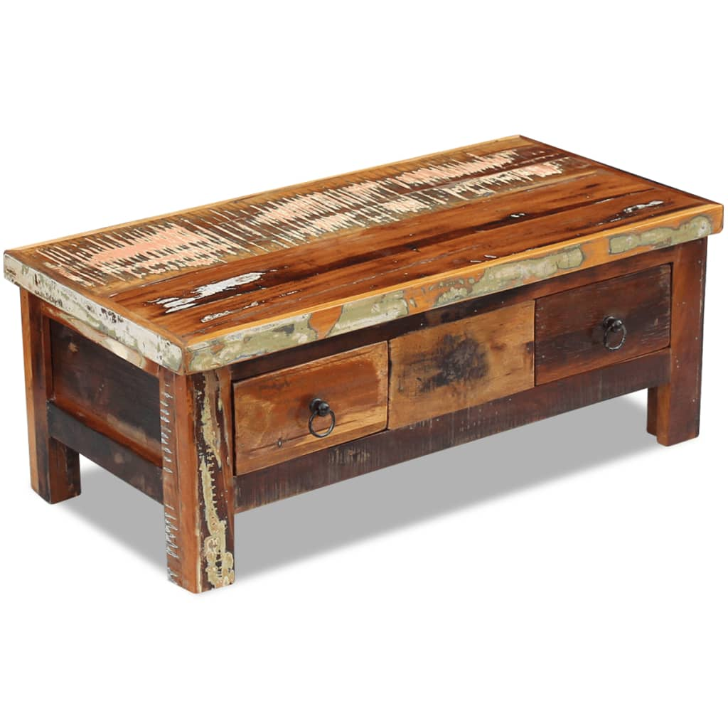 Coffee Table With Drawers: VidaXL Coffee Table Drawers Solid Reclaimed Wood 90x45x35