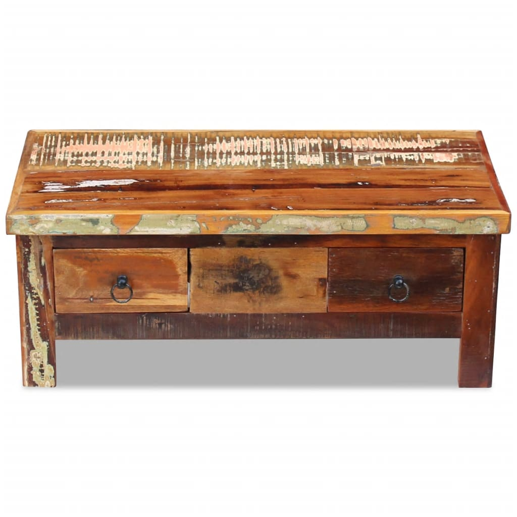 Solid Wood Coffee Table With Drawers: VidaXL Coffee Table Drawers Solid Reclaimed Wood 90x45x35