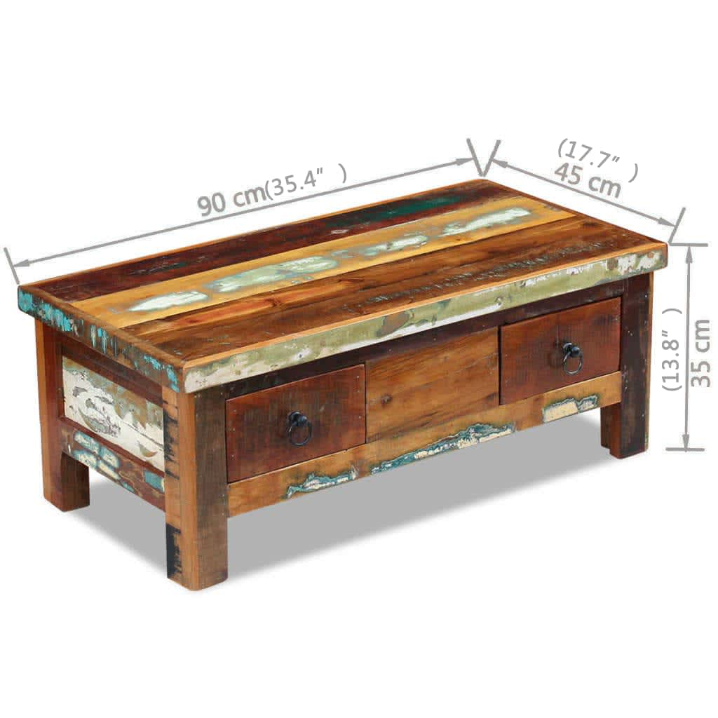 Vidaxl coffee table drawers solid reclaimed wood