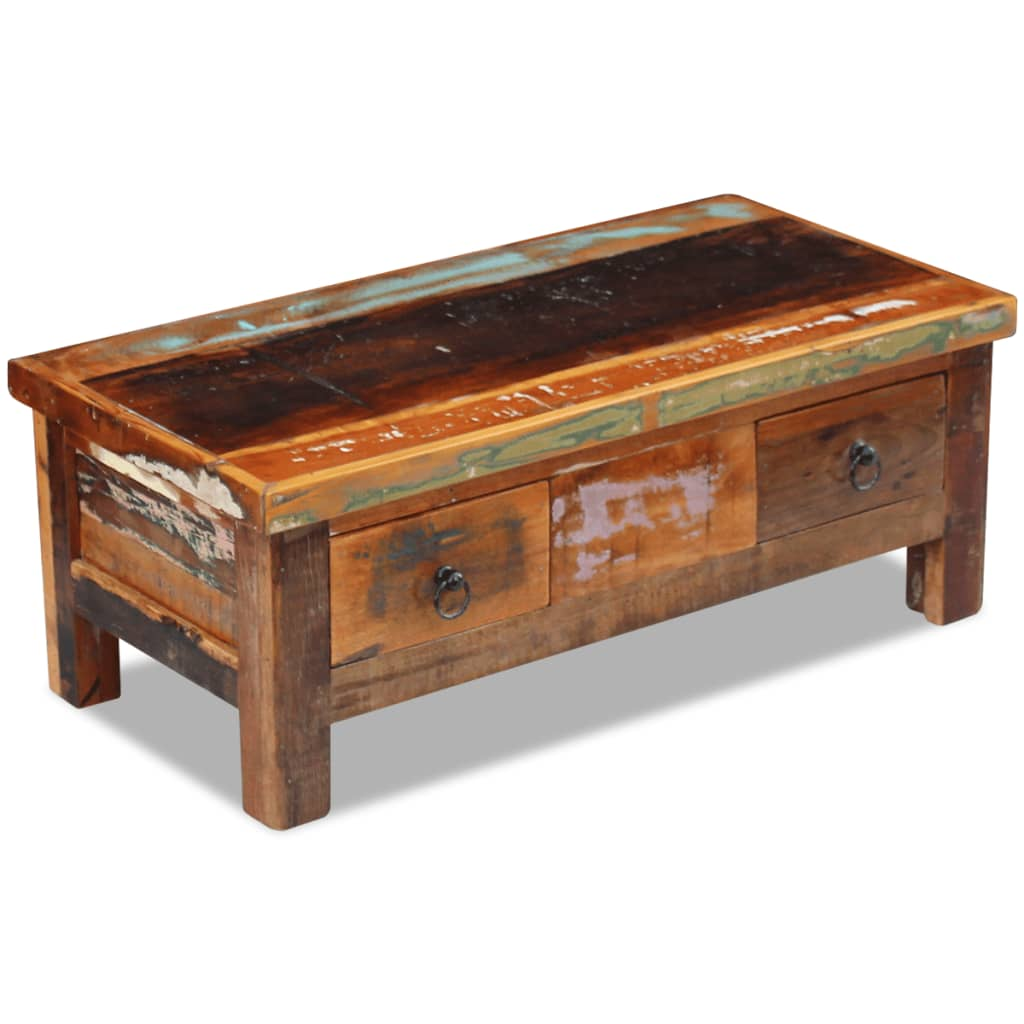 Vidaxl Coffee Table Drawers Solid Reclaimed Wood 90x45x35 Cm