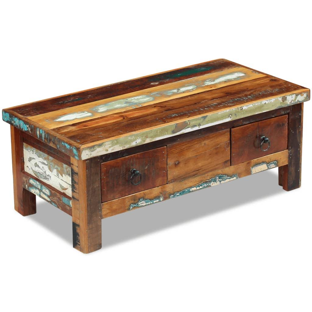 vidaXL fiókos dohányzóasztal tömör újrahasznosított fa 90x45x35 cm