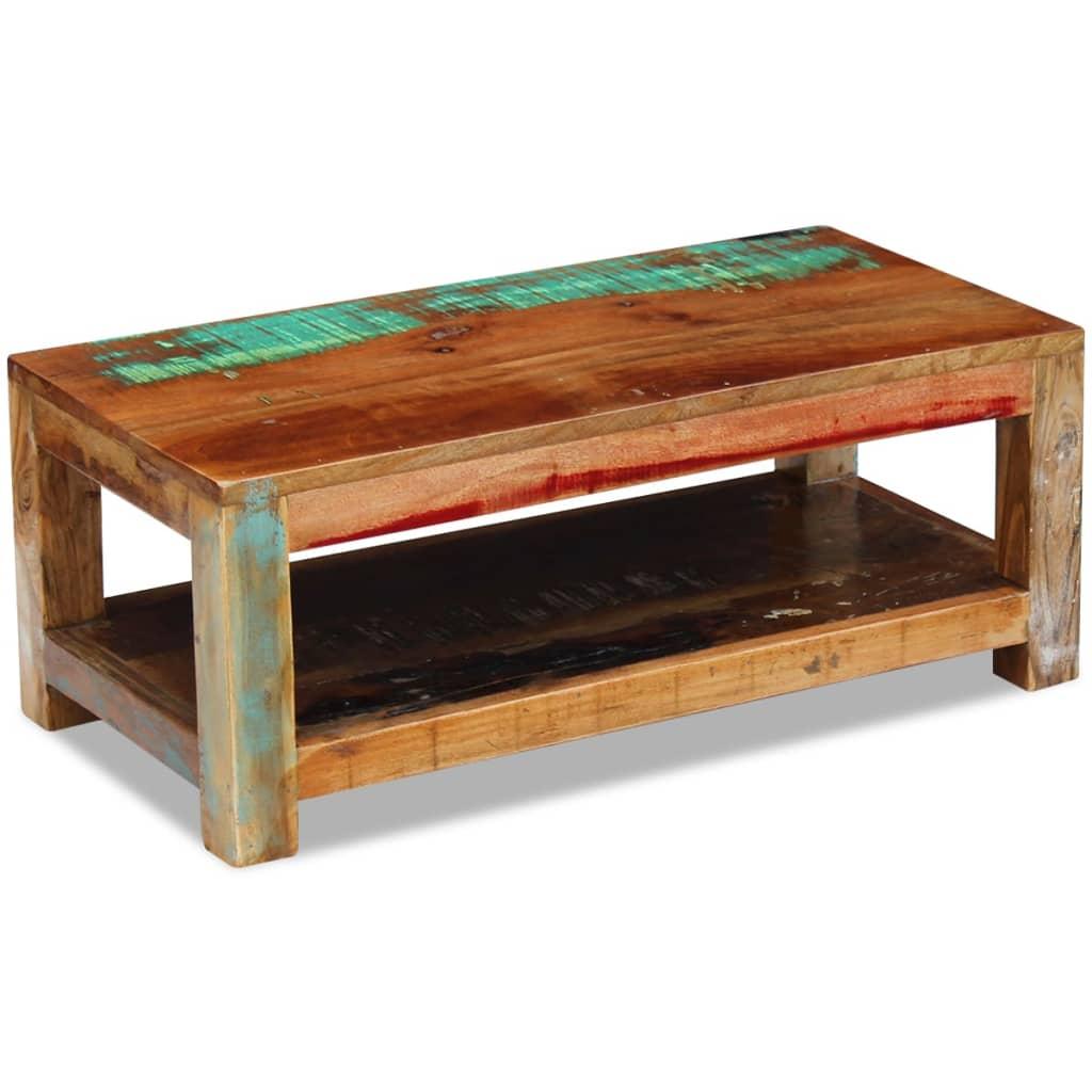vidaXL 90x45x35 cm Tömör újrahasznosított fa dohányzóasztal