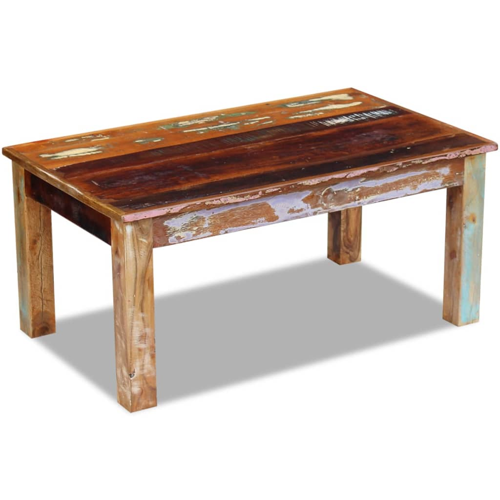 Vidaxl coffee table solid reclaimed wood 100x60x45 cm for Reclaimed coffee table