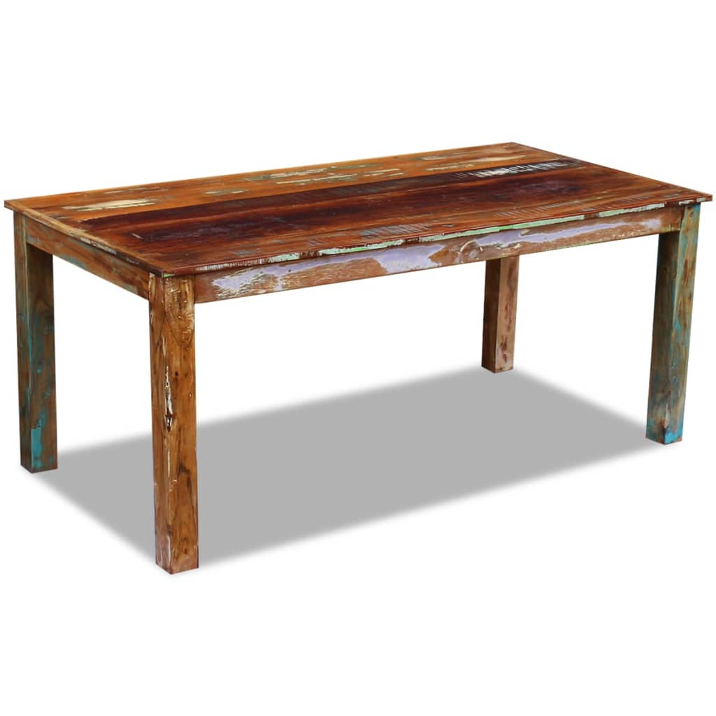 Vidaxl dining table solid reclaimed wood 180x90x76 cm for Reclaimed wood dining table