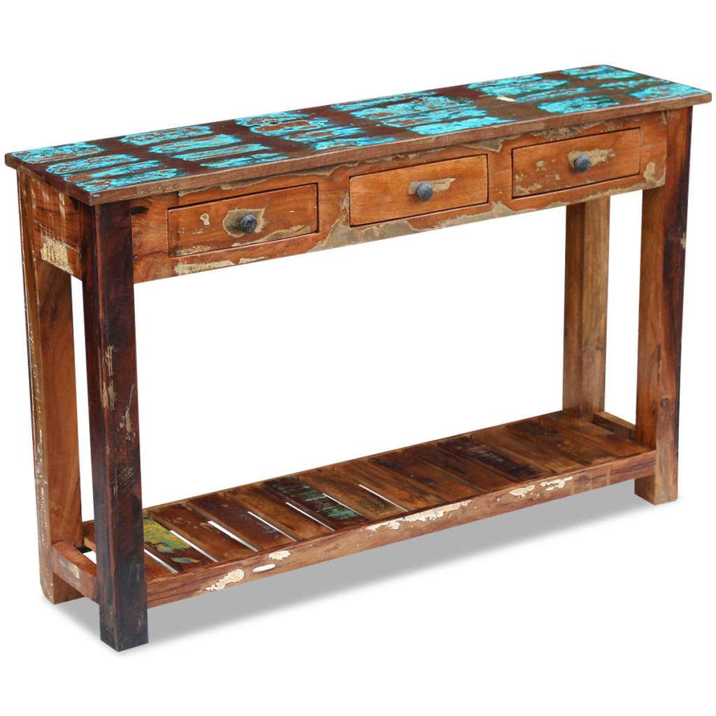 vidaXL 120x30x76 cm Tömör újrahasznosított fa konzolasztal